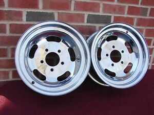 Vintage 15 X 6 Chrome Slot Wheels Gm 5 X 5 Inch Bolt Pattern Street Rod Gasser