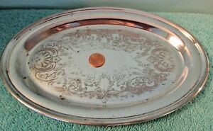 Vintage Academy Silver On Copper Oval Tray 6x9 Inches Engravable