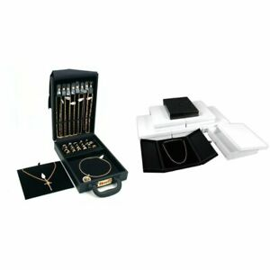 Black Faux Leather Jewelry Travel Case 6 Large Black Necklace Gift Boxes Kit