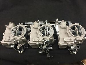 Vintage Speed Rochester 2g 3 X 2 Carb Set In Silver Sand Tri Power Hot Rod