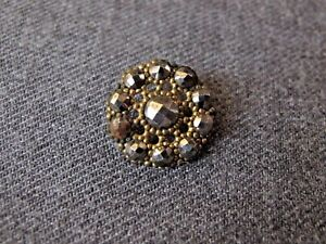 Antique Victorian Cut Steel Golden Filigree Metal Flower Button