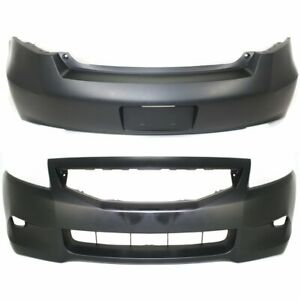 Front Rear Bumper Cover Set For 2008 2010 Honda Accord Coupe Primed 2pc