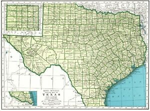 1945 Antique Texas State Map Vintage 1940 S Map Of Texas Gallery Wall Art 6569