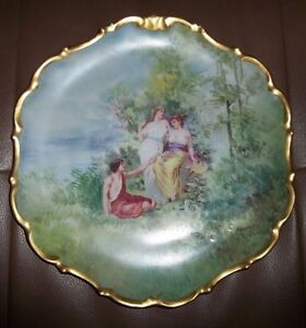 Limoges Stunning Flambeau China France L D B C Portrait Charger Plate Signed
