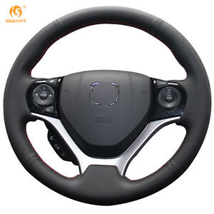 Diy Black Pu Leather Steering Wheel Cover Wrap For Honda Civic 2012 2014 08