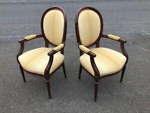 Pair Of Stickley Furniture Medallion Back Arm Chairs