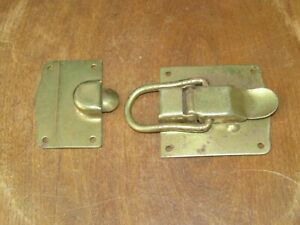 Large Antique Heavy Duty Brass Metal Trunk Or Box Clasp Lock Latch