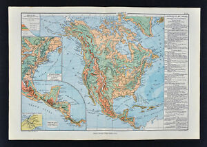 1885 Drioux Map North America Physical United States Canada Mexico Mountains