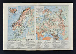 1885 Drioux Map Physical Sweden Norway Denmark Russia Moscow Stockholm Europe