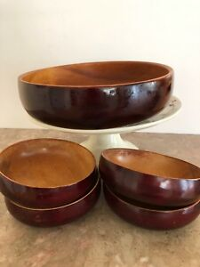 Set Of 5 Cherry Wooden Salad Bowls 1 Large 4 Small Vintage