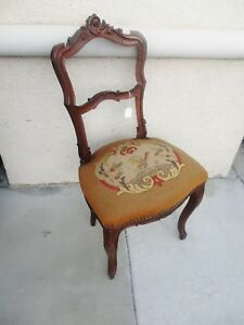 19th Century Carved French Petite Walnut Chair W Needlepoint