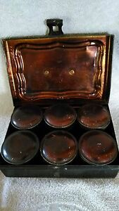 Antique Toleware Tin Spice Box 6 Round Cans Bail Handle Latch Gold Stencilled