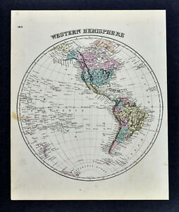 1876 Beers World Map Western Hemisphere North South America United States Canada
