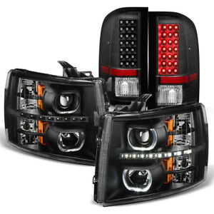 Black 2007 2013 Chevy Silverado 1500 Led Halo Headlights led Tail Lights Lamps