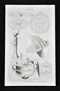 1859 Antique Print Maritime Nautical Ship Binnacle Compass Rose Wind Navigation