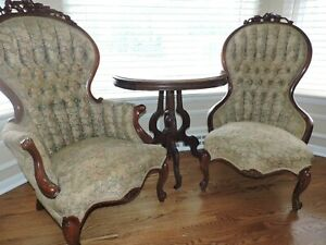 Victorian Pair His And Hers Antique Solid Wood Parlor Chairs Pickup Only