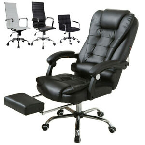 Office High Back Recliner Seat Gaming Chair Leisure Style Leather Adjustable Us