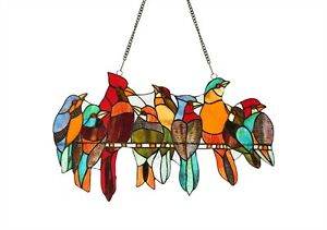 Stained Glass Window Panel 21 5 L X 13 H Birds On A Wire Last One This Price