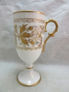 Vintage Hand Painted Porcelain Footed Cup White Gold
