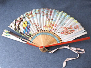 Antique Hand Painted Geishas With Umbrellas Flowers Silk Bamboo Hand Fan Japan