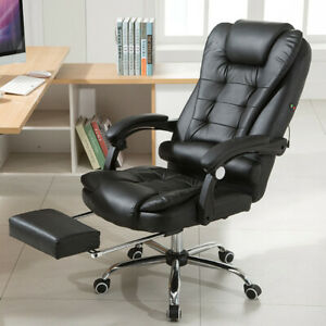 Executive Swivel Office Chair Leisure Style W Footrest High Back Black Leather