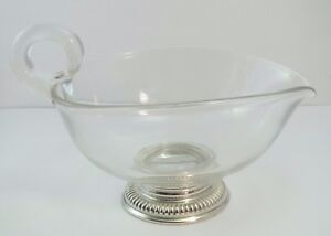 Antique Sterling Silver Base Lead Crystal Cream Gravy Sauce Bowl Frank Whiting