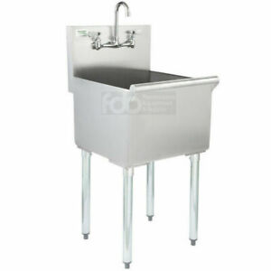 18 X 21 X 14 With Faucet Stainless Steel Commercial Utility Sink Bowl Mop Prep