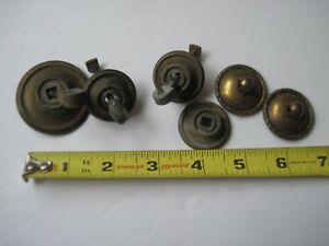Antique Knobs Pulls Dresser Drawer 6 Brass Parts Patina 1 2 Never Cleaned C10