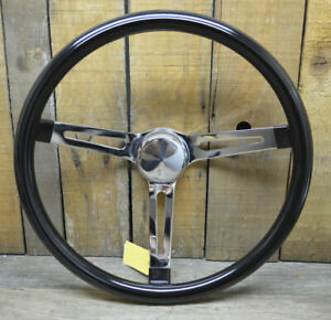 Vtg Style Black Steering Wheel 15 Rat Hot Rod Custom Bomb Lowrider Gasser Vw Old