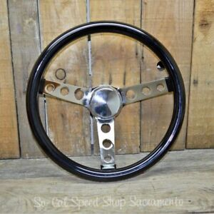 Vtg Style Black Steering Wheel 13 Rat Hot Rod Custom Bomb Lowrider Gasser Vw H