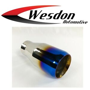 Exhaust Tip 3 50 Dia Od X 7 25 Long 2 25 Inlet Double Wall Stainless Blue Flame