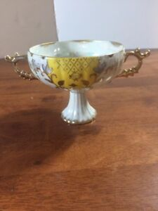 Vintage Royal Sealy Japan Iridescent Pedestal Sugar Bowl Tea Cup Gold Trim