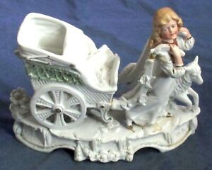 Vintage French Or German Bisque Girl With Cart Sheep