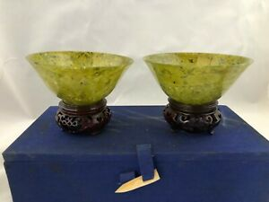 Chinese Antique Spinach Jade Bowl 1 Pair With Stand 4 W