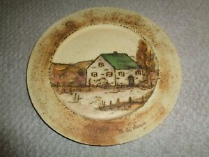 Studio Art Pottery Wall Plate Charger Yellowish Glaze Etched House Trees Fence