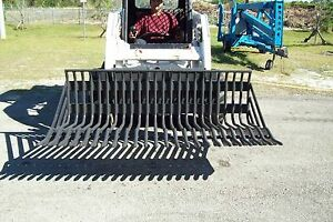 66 Rock Bucket clearing Rake fits All Skid Steers 2 Spacing bradco in Stock
