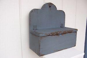 Primitive Rustic Painted Shelf Country Wall Candle Salt Box Mail Folk Art Spice