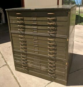 Military Map File Cabinet 15 Drawer Green Blueprint Coffee Table