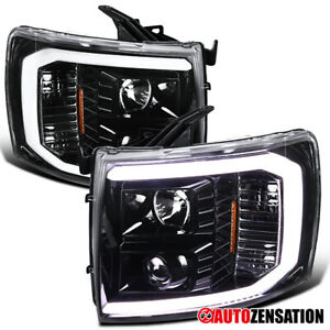 For 2007 2014 Chevy Silverado Led Drl Bar Slick Black Projector Headlights