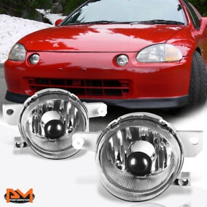 For 93 95 Honda Del Sol Eg Clear Lens Front Bumper Driving Fog Light lamp Pair