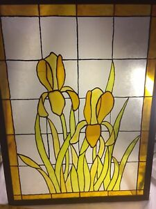Antique Handcrafted Stained Glass Window Panel Iris Flowers Yellow 18 L X 23 H