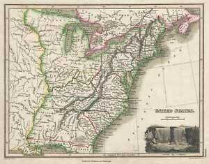 1819 Thomson Map Of The United States Franklinia