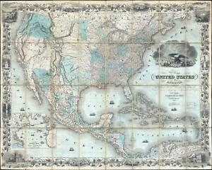 1849 Colton Map Of United States Texas At Fullest First Edition Gold Rush