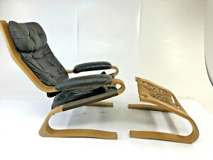 Vintage Leather Lounge Chair Foot Stool Danish Modern Ottoman Bentwood Set 70s