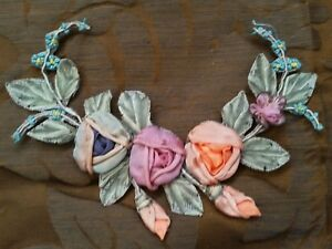 New Old Stock Antique 20 S Era Silk Ribbon Work Florals Flowers Roses Garland