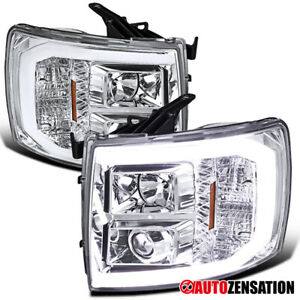 For 2007 2014 Chevy Silverado Led Drl Tube Clear Projector Headlights Lamps Pair