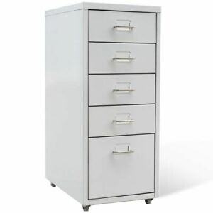Metal Filing Cabinet Storage Chest With 5 Drawers Gray Castors Home Office D0x8
