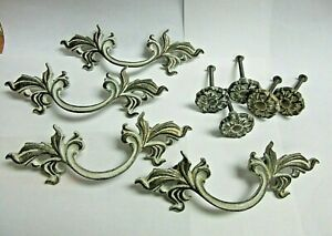 Vintage Lot Of 4 French Provincial Drawer Pulls 5 Matching Knobs