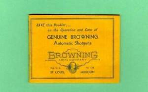 Browning Model A5 1960 s Owners Manual Reproduction