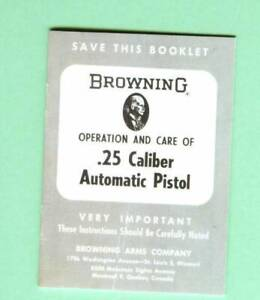Browning Model Baby Browning Model Owners Manual Reproduction